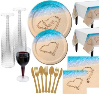Beach Love Wedding Bridal Shower Tableware Kit for 100 Guests
