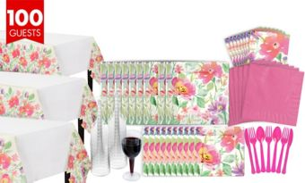 Watercolor Floral Bridal Shower Tableware Kit for 100 Guests