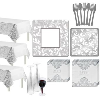 Silver Wedding Shower Tableware Kit for 100 Guests