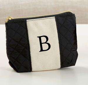 Black & White Monogram B Makeup Bag