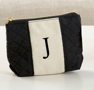 Black & White Monogram J Makeup Bag