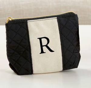 Black & White Monogram R Makeup Bag