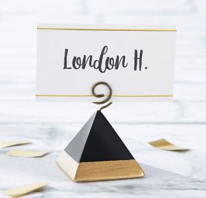 Black & Gold Pyramid Place Card Holders 6ct