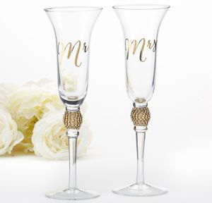 Gold Rhinestone Mr. & Mrs. Toasting Flutes 2ct