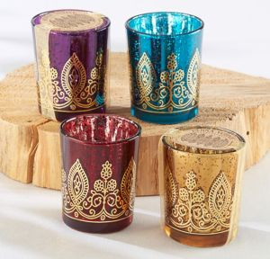 Indian Jewel Henna Votive Candle Holders 4ct
