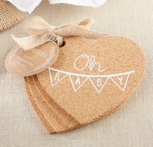 Oh Baby Heart Cork Coasters 4ct