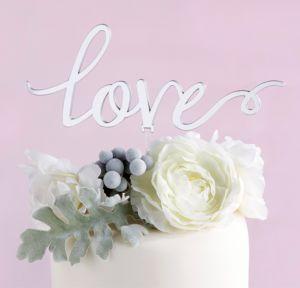 Mirrored Silver Love Cake Topper