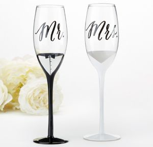 Tuxedo & Wedding Gown Mr. & Mrs. Toasting Glasses 2ct