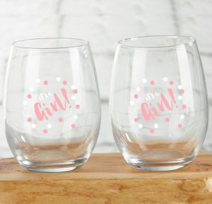 It's A Girl Stemless Wine Glasses 4ct