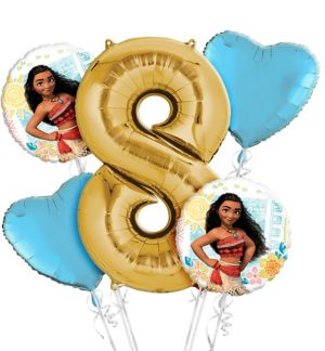 Moana 8th Birthday Balloon Bouquet 5pc