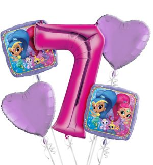 Shimmer and Shine 7th Birthday Balloon Bouquet 5pc