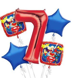 DC Super Hero Girls 7th Birthday Balloon Bouquet 5pc