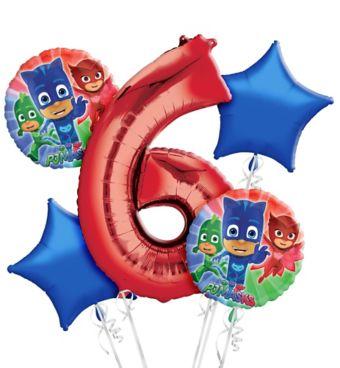 PJ Masks 6th Birthday Balloon Bouquet 5pc