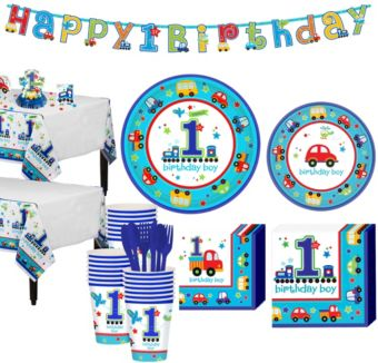 All Aboard 1st Birthday Party Kit for 38 Guests