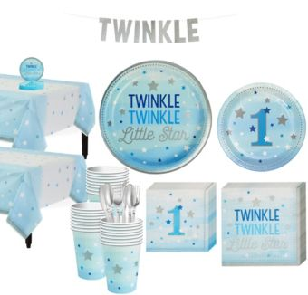 Blue Twinkle Twinkle Little Star 1st Birthday Party Kit for 32 Guests
