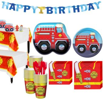 Firefighter 1st Birthday Party Kit for 32 Guests