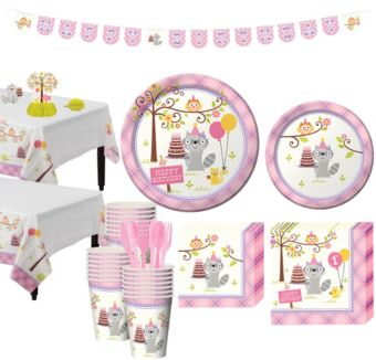 Girls Happi Woodland 1st Birthday Party Kit for 32 Guests