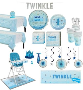 Blue Twinkle Twinkle Little Star 1st Birthday Deluxe Party Kit for 32 Guests