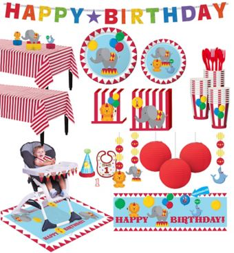 Carnival 1st Birthday Deluxe Party Kit for 32 Guests