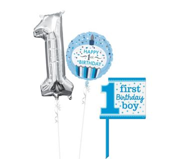 Blue Cupcake 1st Birthday Yard Sign Kit with Balloons