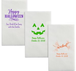 Personalized Halloween Luxury Deville Side-Fold Dinner Napkins