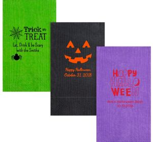Personalized Halloween Moire Guest Towels