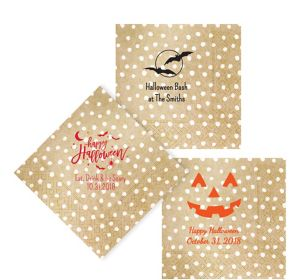 Personalized Halloween Small Dots Lunch Napkins