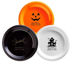 Personalized Halloween Plastic Dinner Plates