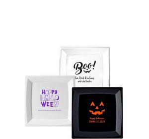 Personalized Halloween Premium Plastic Square Dessert Plates