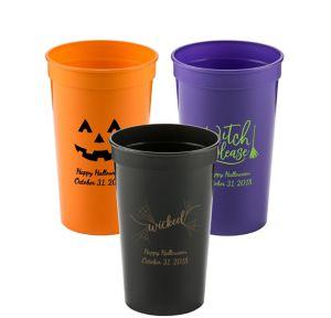 Personalized Halloween Plastic Stadium Cups 22oz