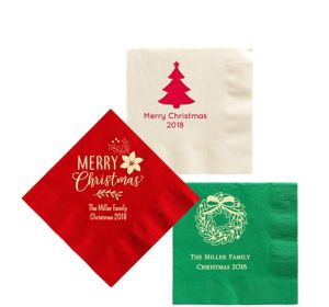 Personalized Christmas Beverage Napkins 5in X 5in Party City