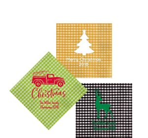 Personalized Christmas Gingham Beverage Napkins