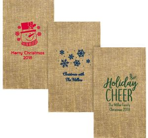 Personalized Christmas Burlap Print Guest Towels