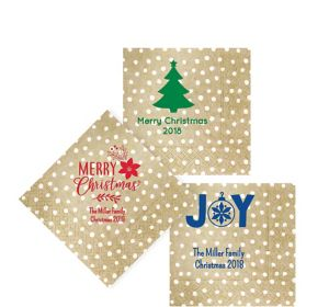 Personalized Christmas Small Dots Beverage Napkins