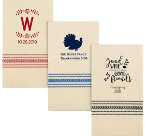 Personalized Thanksgiving Herringbone Guest Towels