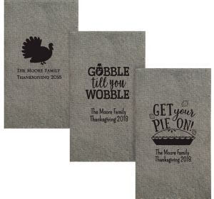 Personalized Thanksgiving Tweed Print Guest Towels