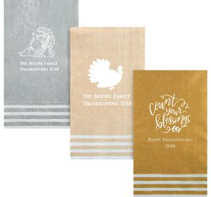 Personalized Thanksgiving Stripe Border Guest Towels