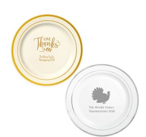 Personalized Thanksgiving Trimmed Premium Plastic Dinner Plates