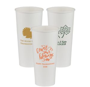 Personalized Thanksgiving Paper Cups 24oz
