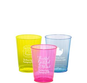 Personalized Thanksgiving Neon Hard Plastic Cups 10oz