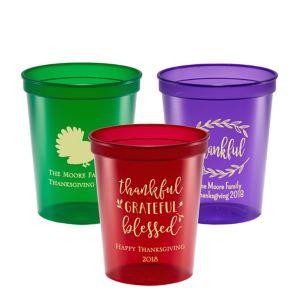 Personalized Thanksgiving Translucent Plastic Stadium Cups 16oz