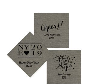 Personalized New Year's Tweed Print Beverage Napkins