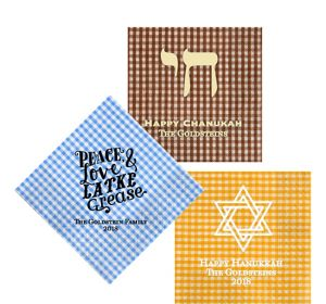 Personalized Hanukkah Gingham Lunch Napkins