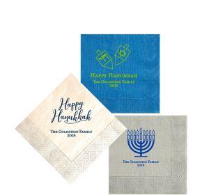 Personalized Hanukkah Moire Beverage Napkins