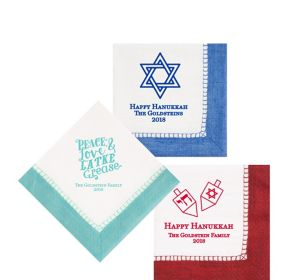 Personalized Hanukkah Bordered Beverage Napkins