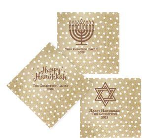 Personalized Hanukkah Small Dots Lunch Napkins