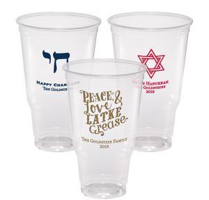 Personalized Hanukkah Plastic Party Cups 32oz