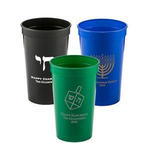 Personalized Hanukkah Plastic Stadium Cups 22oz