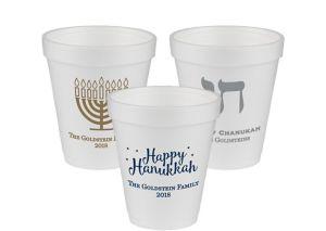 Personalized Hanukkah Foam Cups 8oz
