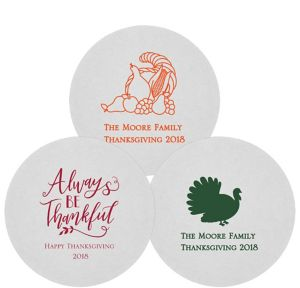Personalized Thanksgiving 80pt Round Coasters